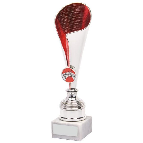Chrome Red Fluted Trophy Cup. Low priced modern cup range suited for any presentation or awards ceremony