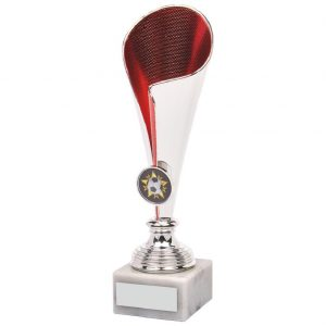Chrome red Fluted Football Trophy