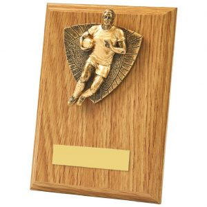 Lightwood Coloured Rugby Player Plaque 15cms