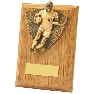 Lightwood Coloured Rugby Player Plaque 13cms