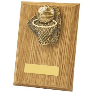 Lightwood Coloured Netball Plaque 15cms