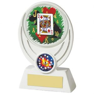 Low Priced Cards Trophy 13cms tall. A great trophies ideal for all styles of poker and card games. White circle shaped resin with a glass image.