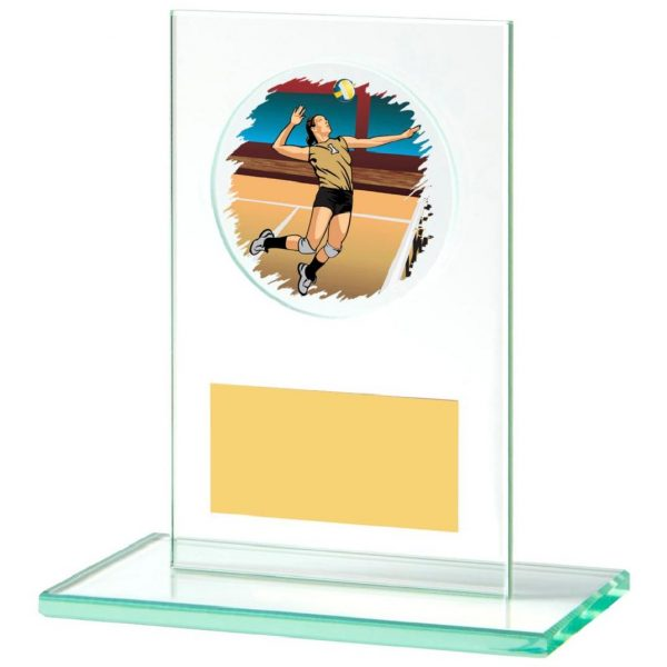 Jade Glass Volleyball Trophy