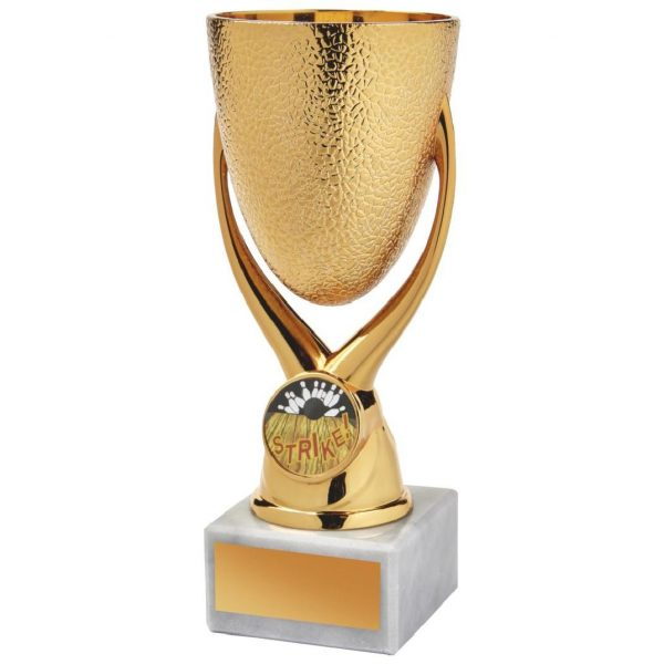 The trophy is constructed from a copper coloured hard plastic composite mini riser bowl. All connected to a white piece of marble