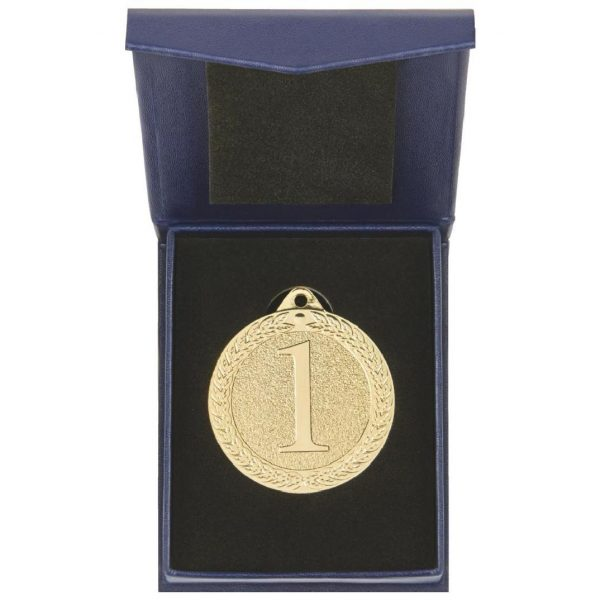A 50mm diameter medallion in a black recessed liner and a blue presentation case