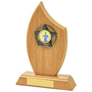 the wood style sports trophy is a sail shaped MDF based material. Includes a choice of standard coloured centres. Fitted with a gold and black coloured activity centre holder and a felt beize