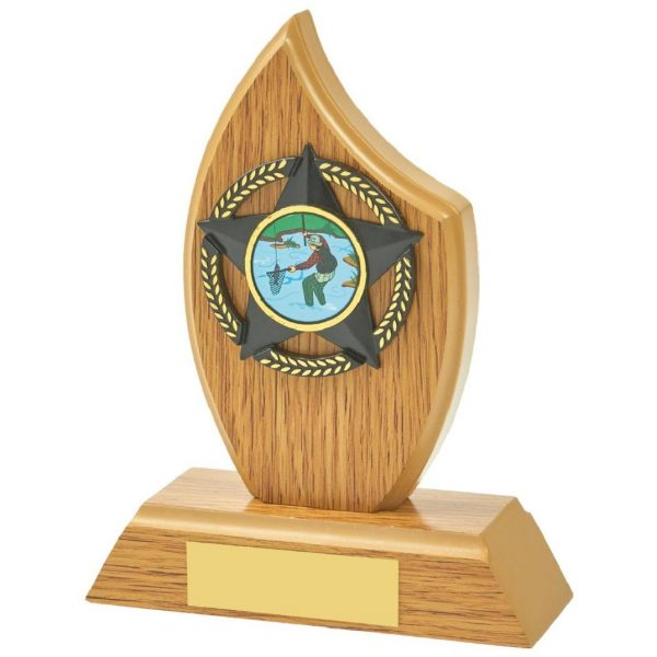 Multi Sports Sail Shaped Trophy 14cms the wood style sports trophy is a sail shaped MDF based material. Includes a choice of standard coloured centres. Fitted with a gold and black coloured activity centre holder and a felt beize on the bottom