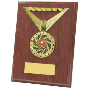plaque is an MDF based material with a rosewood coloured finish and includes a standing strut on the reverse. Fitted with a shiny gold coloured ribbon shaped activity centre holder and a large choice of centre
