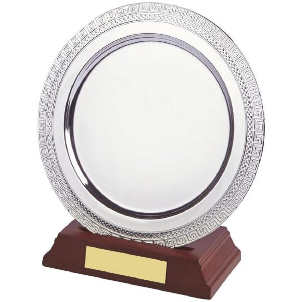 Achievement Salver 18cms. Constructed from a circular metal alloy with a bright shiny silver finish and sits in a slotted wood base. Incorporating large area on the salver to include all your engraving including your club or corporate logo