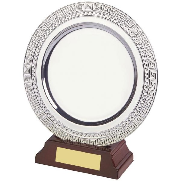 Achievement Salver 15cms. Constructed from a circular metal alloy with a bright shiny silver finish and sits in a slotted wood base. Incorporating large area on the salver to include all your engraving including your club or corporate logo