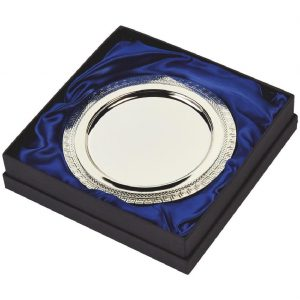 Silver Plated Presentation Salver 18cms. Constructed from a metal alloy with a bright shiny silver finish and sits in a blue line presentation case. Incorporating large area to include all your engraving including your club or corporate logo