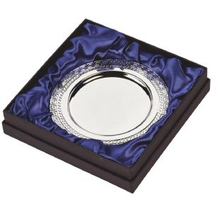 Silver Plated Presentation Salver 15cms. Constructed from a metal alloy with a bright shiny silver finish and sits in a blue line presentation case. Incorporating large area to include all your engraving including your club or corporate logo