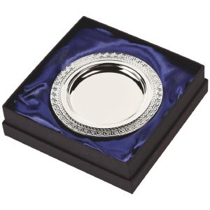 Silver Plated Presentation Salver 13cms. Constructed from a metal alloy with a bright shiny silver finish and sits in a blue line presentation case. Incorporating large area to include all your engraving including your club or corporate logo