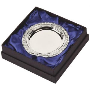 Silver Plated Presentation Salver 10cms. Constructed from a metal alloy with a bright shiny silver finish and sits in a blue line presentation case. Incorporating large area to include all your engraving including your club or corporate logo