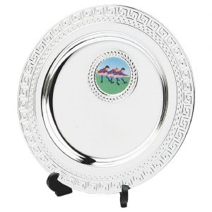 Multi-Sports Value Salver 13cms. Constructed from a metal alloy with a bright shiny silver finish and a black plastic plate stand. Incorporating large area to include all your engraving
