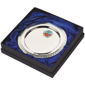 Multi-Sports Presentation Salver 18cms. Constructed from a metal alloy with a bright shiny silver finish and sits in a blue line presentation case. Incorporating large area to include all your engraving for a small charge. Including a quality lidded lined presentation case.