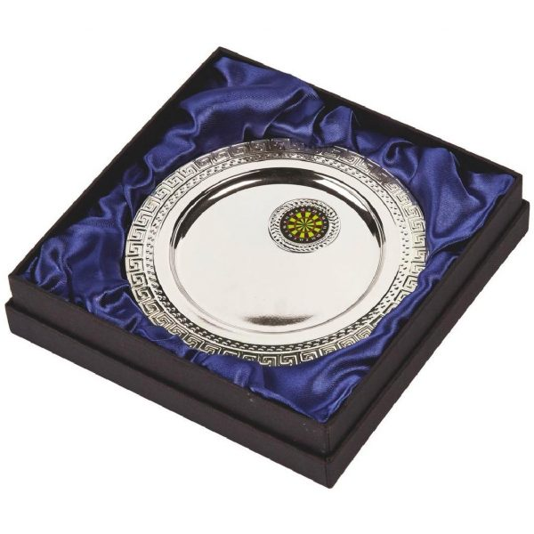 Multi-Sports Presentation Salver 15cms. Constructed from a metal alloy with a bright shiny silver finish and sits in a blue line presentation case. Incorporating large area to include all your engraving for a small charge.Including a quality lidded lined presentation case.