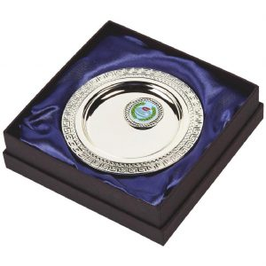 Multi-Sports Presentation Salver 13cms. Constructed from a metal alloy with a bright shiny silver finish and sits in a blue line presentation case. Incorporating large area to include all your engraving for a small charge. Including a quality lidded lined presentation case.