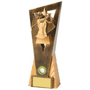 Womens Golf Trophy 23cms.. Constructed from a two tone antique gold coloured hard plastic composite material. Incorporating an high relief female golfer icon