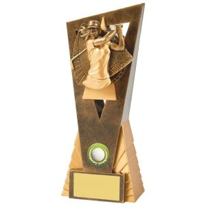 Womens Golf Trophy 21cms.. Constructed from a two tone antique gold coloured hard plastic composite material. Incorporating an high relief female golfer icon