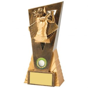 Womens Golf Trophy 18cms.. Constructed from a two tone antique gold coloured hard plastic composite material. Incorporating an high relief female golfer icon