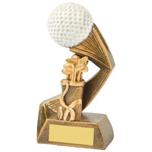 Golfing Trophy 13.5cms. Constructed from a two tone antique gold coloured resin. Incorporating a golf ball image.