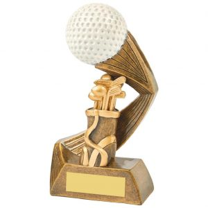 Golfing Trophy 16cms. Constructed from a two tone antique gold coloured resin. Incorporating a golf ball image.