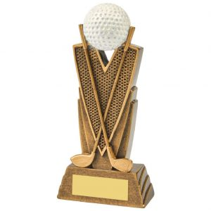 Golf Trophy 15cms. Constructed from a two tone antique gold coloured resin. Depicting crossed golf clubs. Incorporating a golf ball icon