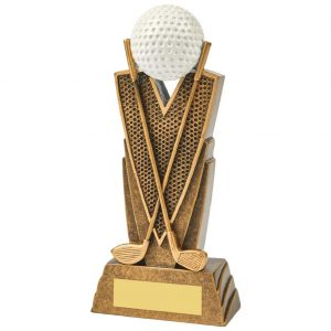 Golf Trophy 17cms. Constructed from a two tone antique gold coloured resin. Depicting crossed golf clubs. Incorporating a golf ball icon
