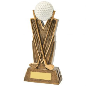 Golf Trophy 19cms. Constructed from a two tone antique gold coloured resin. Depicting crossed golf clubs. Incorporating a golf ball icon