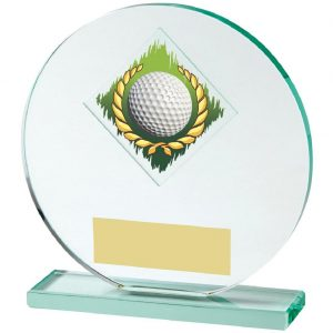 Glass Golf Trophy 17cms. Constructed from a circular shaped jade coloured plain edge glass. Incorporating a golf ball in wreath glass disc image.