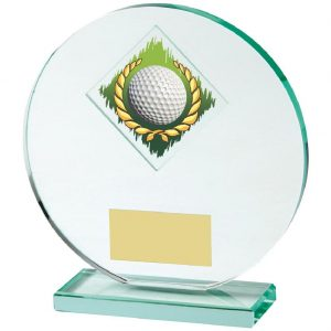 Glass Golf Trophy 15cms. Constructed from a circular shaped jade coloured plain edge glass. Incorporating a golf ball in wreath glass disc image.
