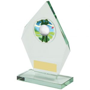 Glass Golfer Trophy 19.5cms. Constructed from a angular shaped jade coloured plain edge glass. Incorporating a golf ball glass disc image.