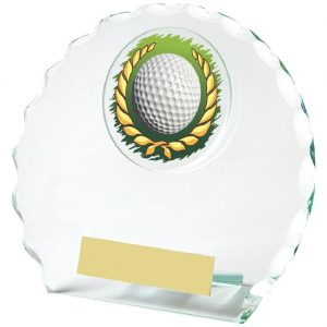Golf Glass Budget Trophy 12cms. Constructed from 5mm thick jade coloured scalloped edge circle glass. Incorporating a golf ball in wreath glass disc image