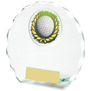 Golf Glass Budget Trophy 11cms. Constructed from 5mm thick jade coloured scalloped edge circle glass. Incorporating a golf ball in wreath glass disc image