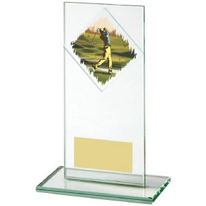 Golf Glass Trophy 16cms. Constructed from a rectangular shaped jade coloured plain edge glass. Incorporating a golfer glass disc image