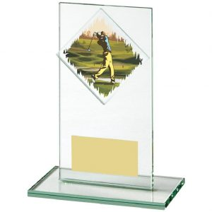Golf Glass Trophy 14cms. Constructed from a rectangular shaped jade coloured plain edge glass. Incorporating a golfer glass disc image