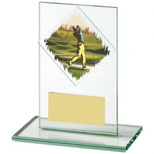 Golf Glass Trophy 12cms. Constructed from a rectangular shaped jade coloured plain edge glass. Incorporating a golfer glass disc image