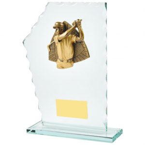 Golfer Glass Trophy 20cms. Constructed from 5mm thick jade coloured scalloped edge glass. Incorporating a high relief two toned gold coloured male golfer icon.