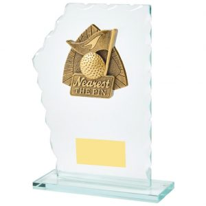 Nearest Pin Trophy 18cms.Constructed from 5mm thick jade coloured scalloped edge glass. Incorporating a high relief two toned gold coloured nearest the pin icon