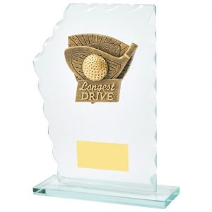 Longest Drive Trophy 18cms.Constructed from 5mm thick jade coloured scalloped edge glass. Incorporating a high relief two toned gold coloured nearest the pin icon