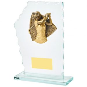 Lady Golfer Glass Trophy 18cms. Constructed from 5mm thick jade coloured scalloped edge glass. Incorporating a high relief two toned gold coloured women's golfer icon.