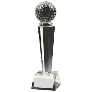 Glass Column Golf Trophy 24cms. Constructed for a clear glass golf ball connect to a multi edged column and square shaped base
