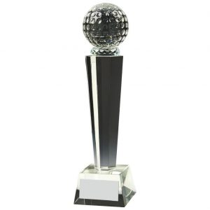 Glass Column Golf Trophy 26cms. Constructed for a clear glass golf ball connect to a multi edged column and square shaped base