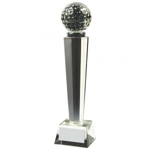 Glass Column Golf Trophy 28cms. Constructed for a clear glass golf ball connect to a multi edged column and square shaped base