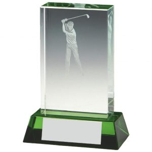 Jade Glass Golfer Trophy 10cms. Constructed from a rectangular shaped jade coloured plain edge glass. Incorporating an etched male golfer scene image connected to a jade effect glass base.