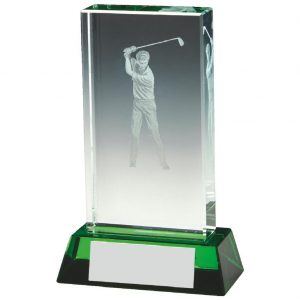 Jade Glass Golfer Trophy 11.5cms. Constructed from a rectangular shaped jade coloured plain edge glass. Incorporating an etched male golfer scene image connected to a jade effect glass base.