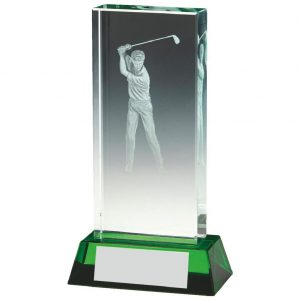 Jade Glass Golfer Trophy 13cms. Constructed from a rectangular shaped jade coloured plain edge glass. Incorporating an etched male golfer scene image connected to a jade effect glass base.