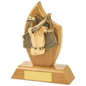 Wood Golf Trophy 14cms