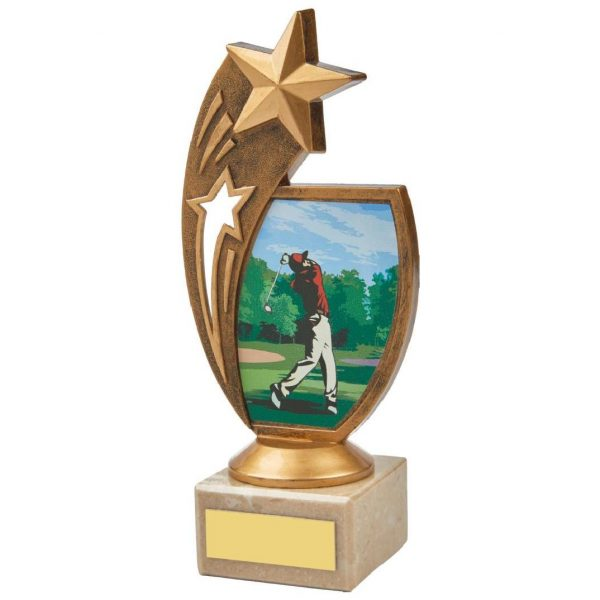 Star Golf Trophy 18.5cms. Constructed from a fine detailed old gold coloured plastic composite shooting star riser. Incorporating a male golfer teeing off image. Connected to a small old gold coloured plastic riser and cream marble base